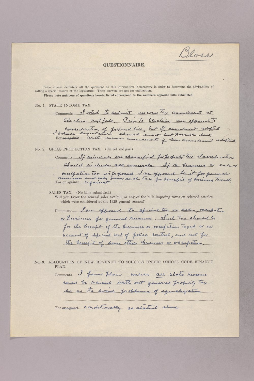 Governor Clyde M. Reed correspondence, tax questionnaires - 1