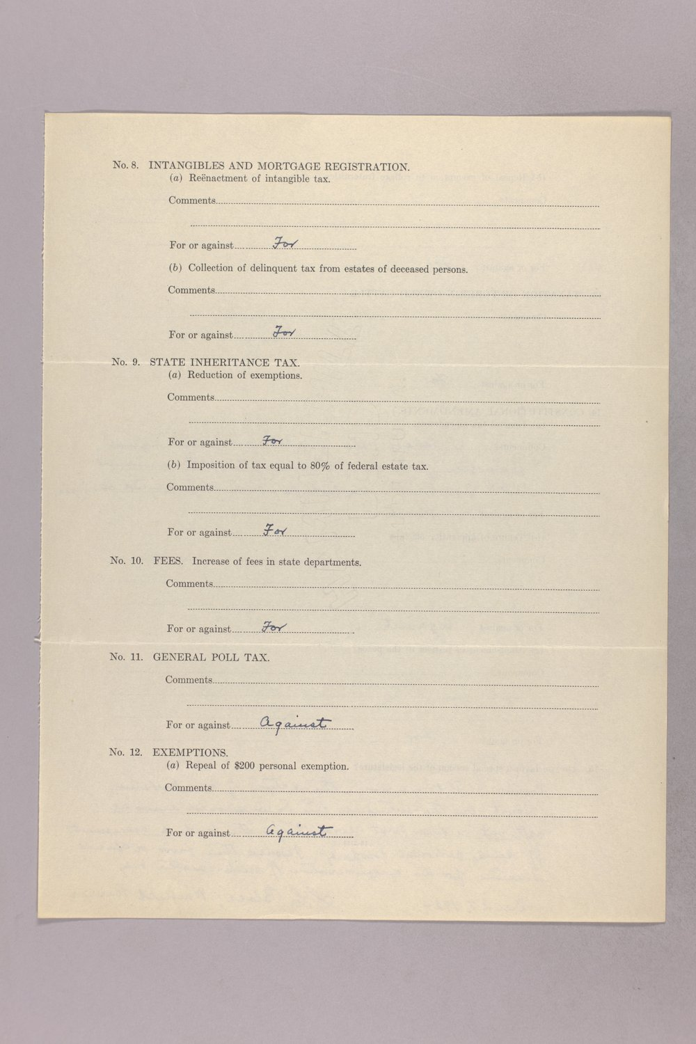 Governor Clyde M. Reed correspondence, tax questionnaires - 3