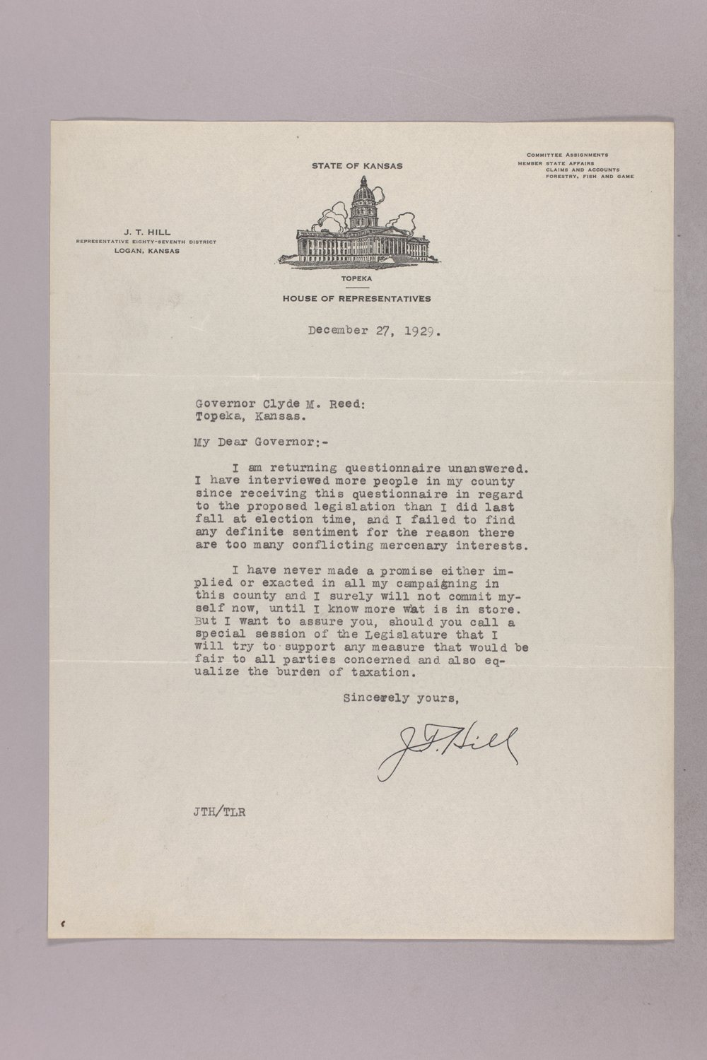Governor Clyde M. Reed correspondence, tax questionnaires - 5