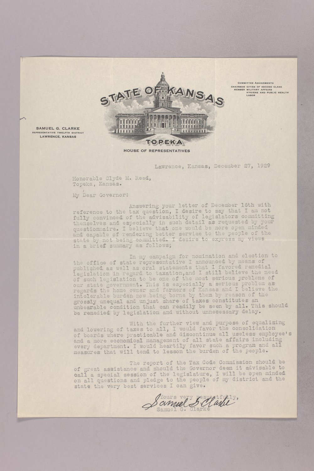 Governor Clyde M. Reed correspondence, tax questionnaires - 6