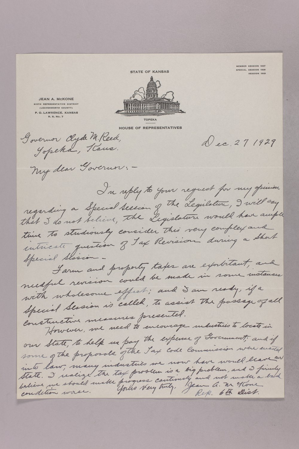 Governor Clyde M. Reed correspondence, tax questionnaires - 7