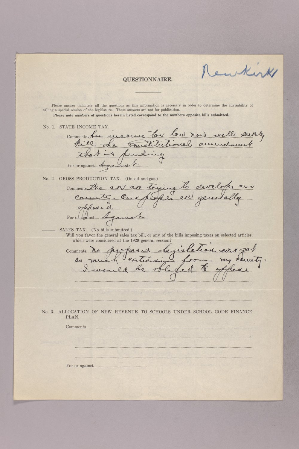 Governor Clyde M. Reed correspondence, tax questionnaires - 8