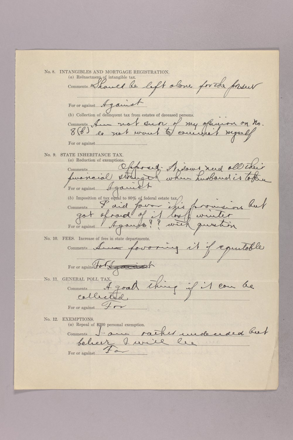 Governor Clyde M. Reed correspondence, tax questionnaires - 10