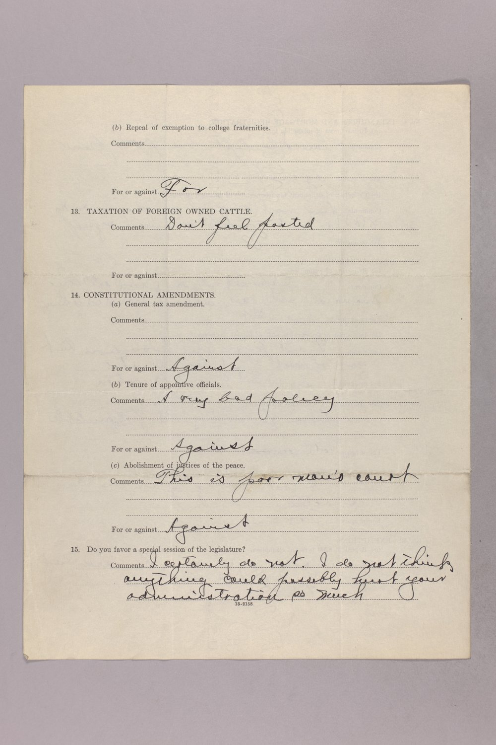 Governor Clyde M. Reed correspondence, tax questionnaires - 11