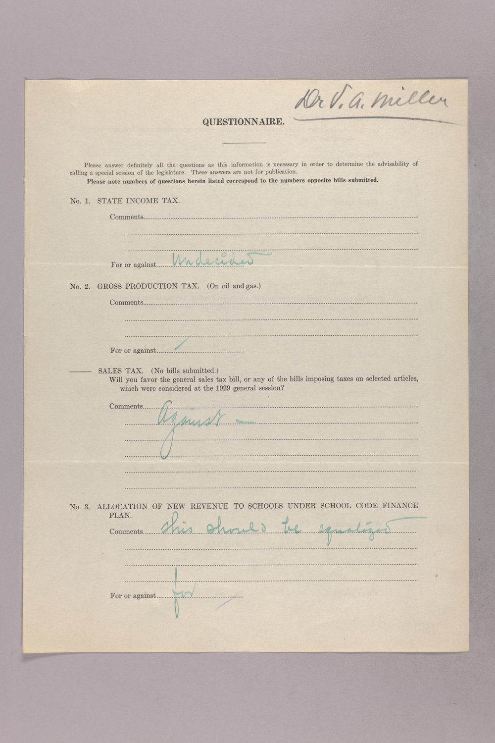 Governor Clyde M. Reed correspondence, tax questionnaires - 12