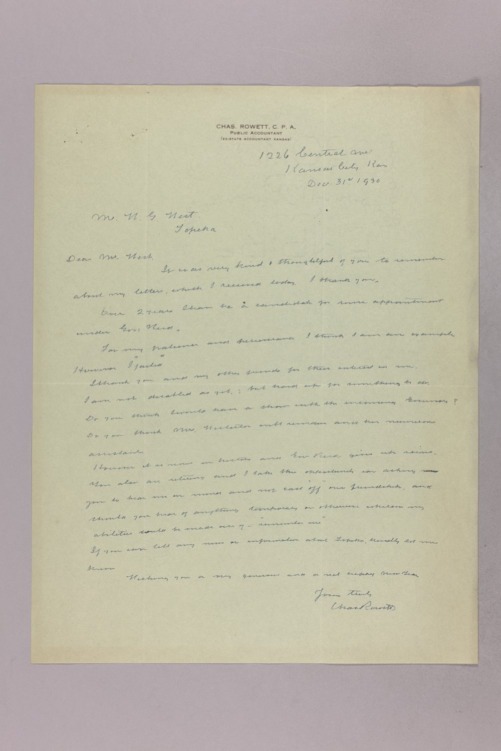 Governor Clyde M. Reed correspondence, State Accountant - 1