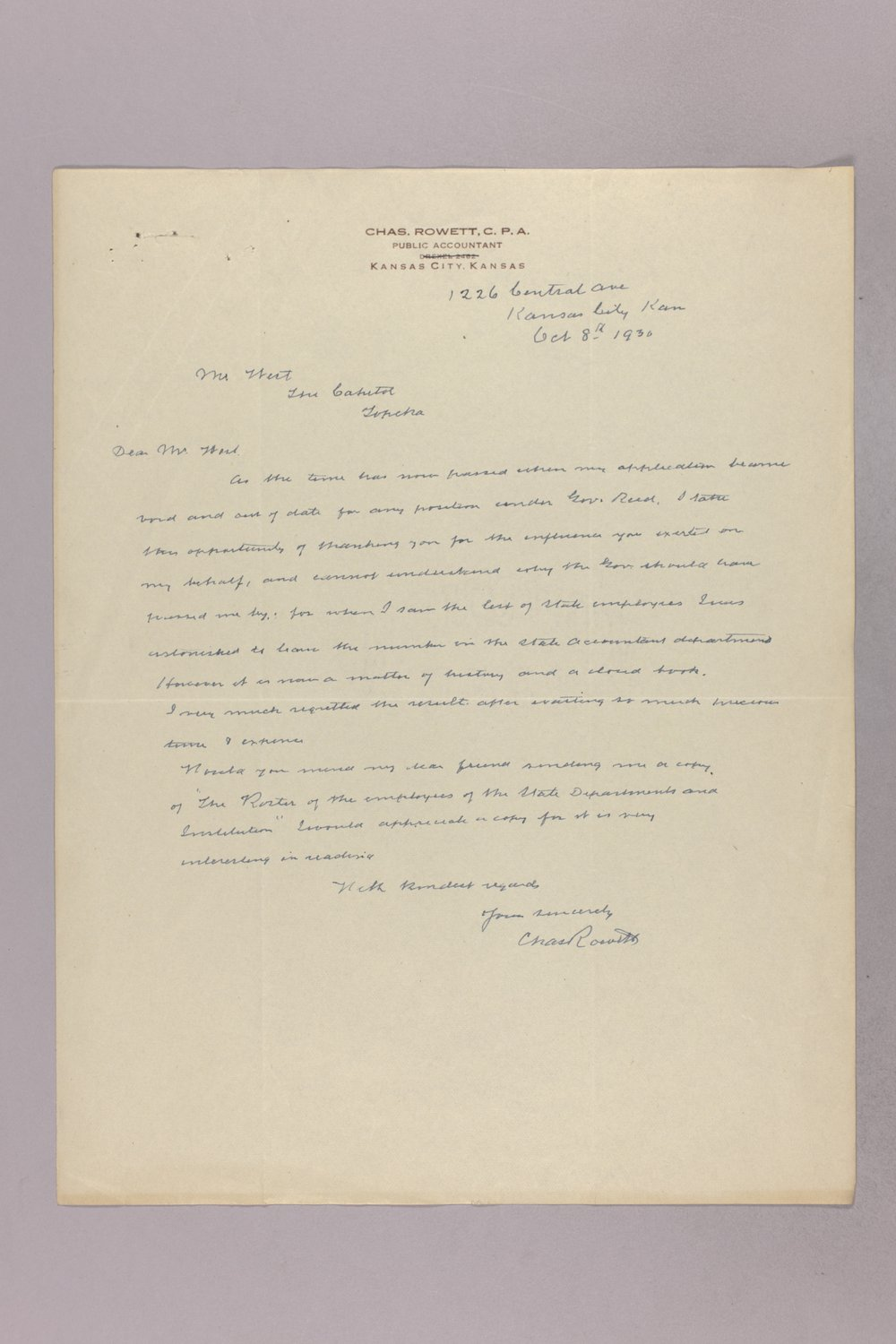 Governor Clyde M. Reed correspondence, State Accountant - 2