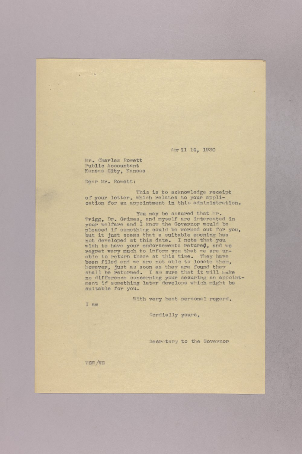 Governor Clyde M. Reed correspondence, State Accountant - 3