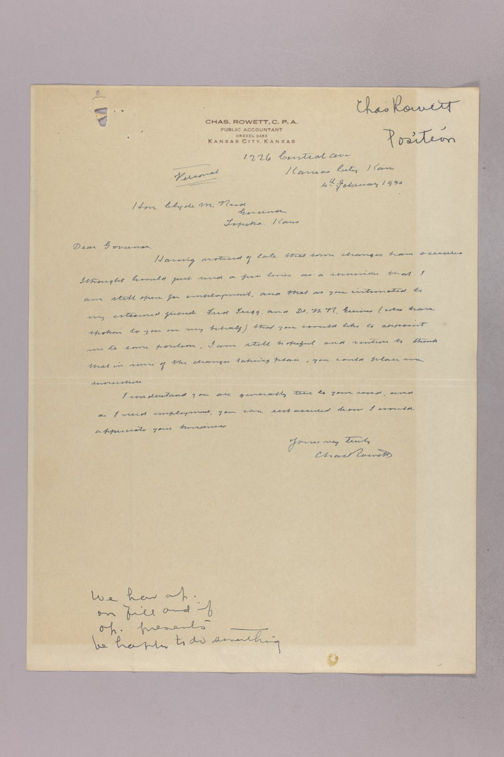 Governor Clyde M. Reed correspondence, State Accountant - 5