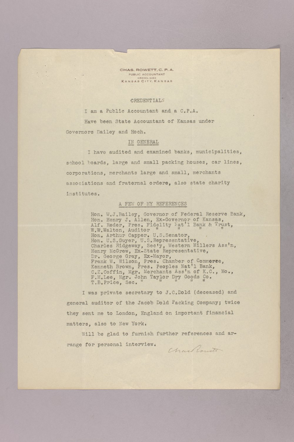 Governor Clyde M. Reed correspondence, State Accountant - 6