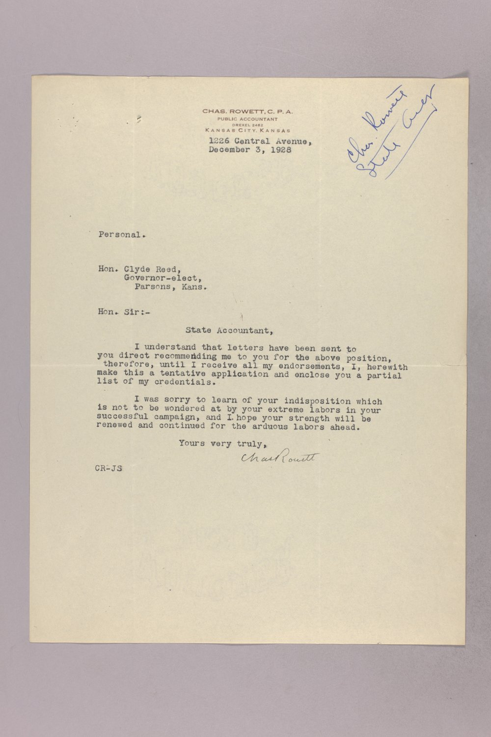 Governor Clyde M. Reed correspondence, State Accountant - 7