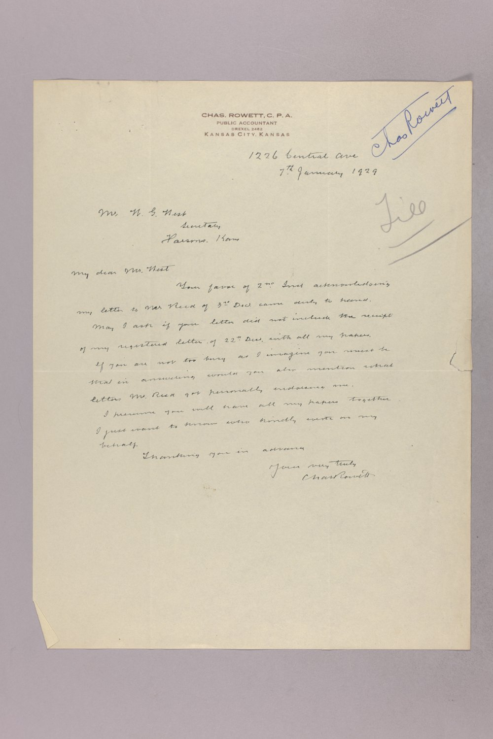 Governor Clyde M. Reed correspondence, State Accountant - 9