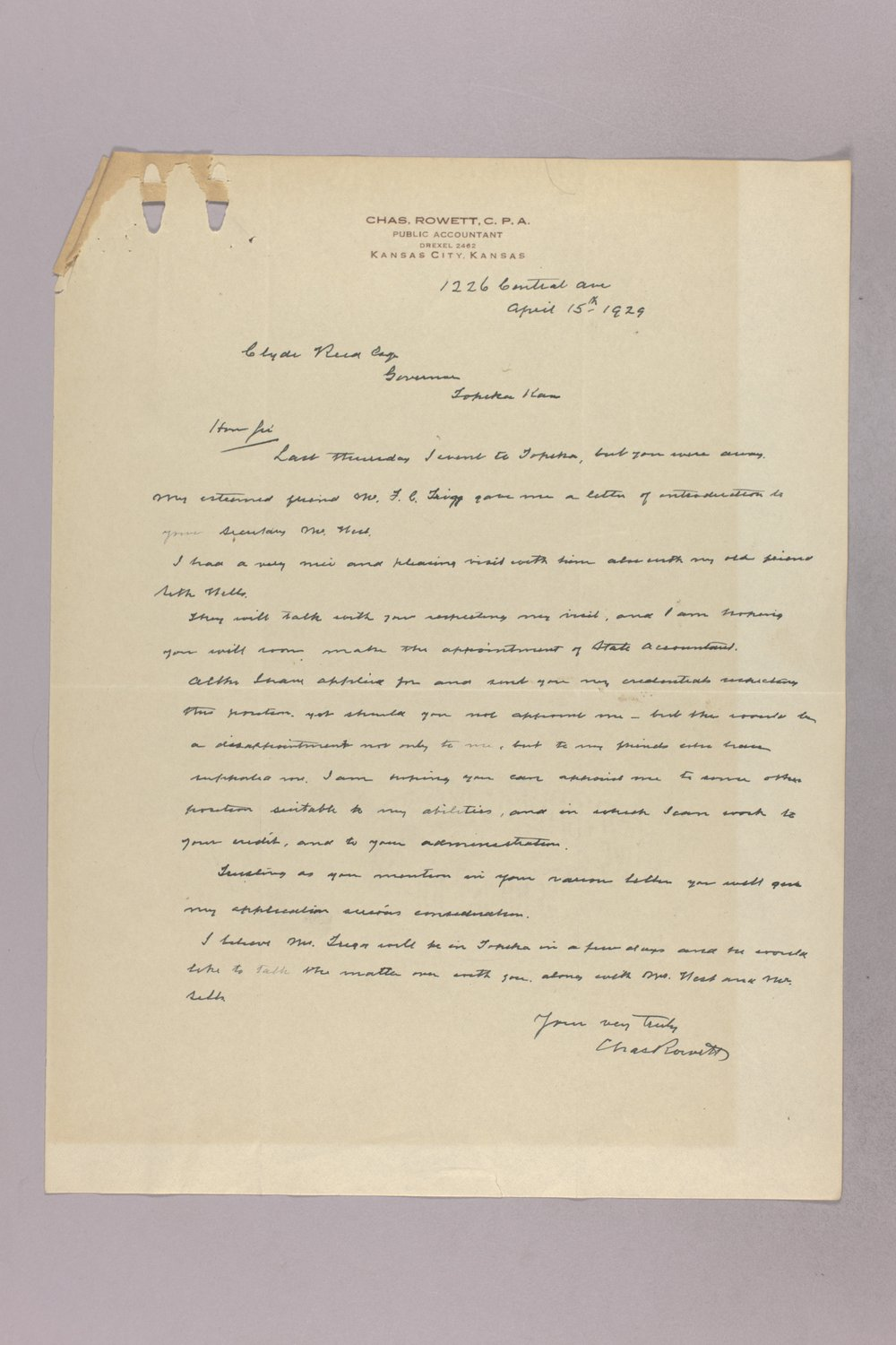 Governor Clyde M. Reed correspondence, State Accountant - 11