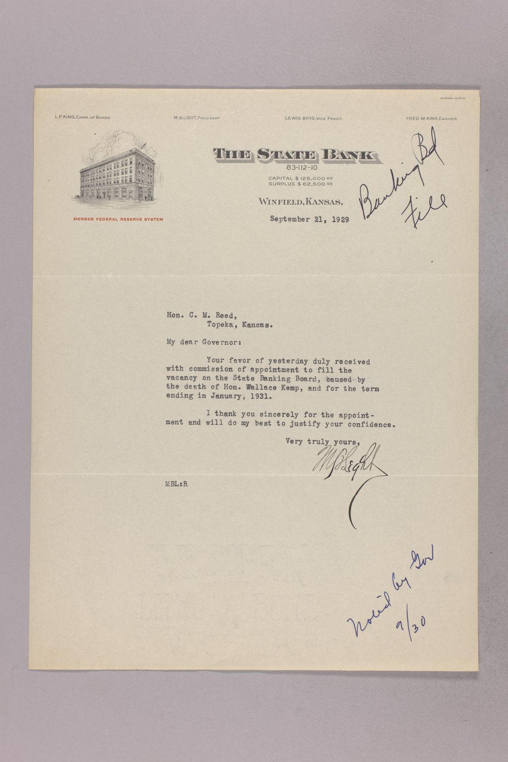 Governor Clyde M. Reed correspondence, Banking Board - 2