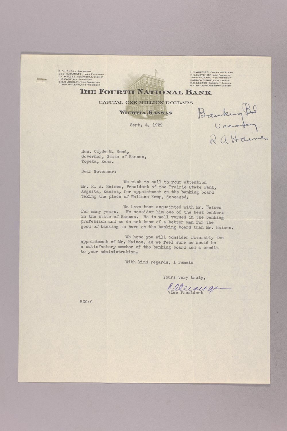 Governor Clyde M. Reed correspondence, Banking Board - 4