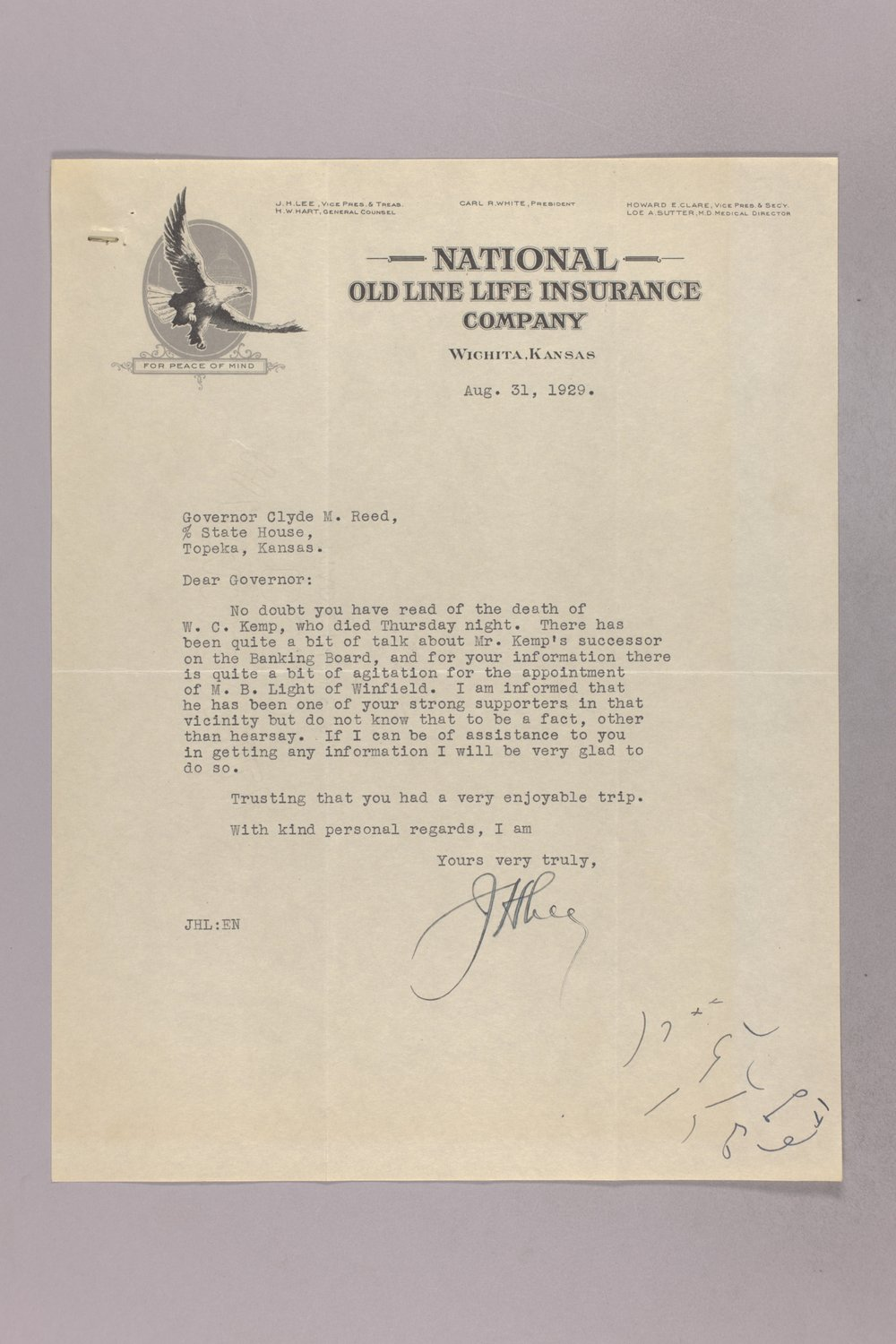 Governor Clyde M. Reed correspondence, Banking Board - 5