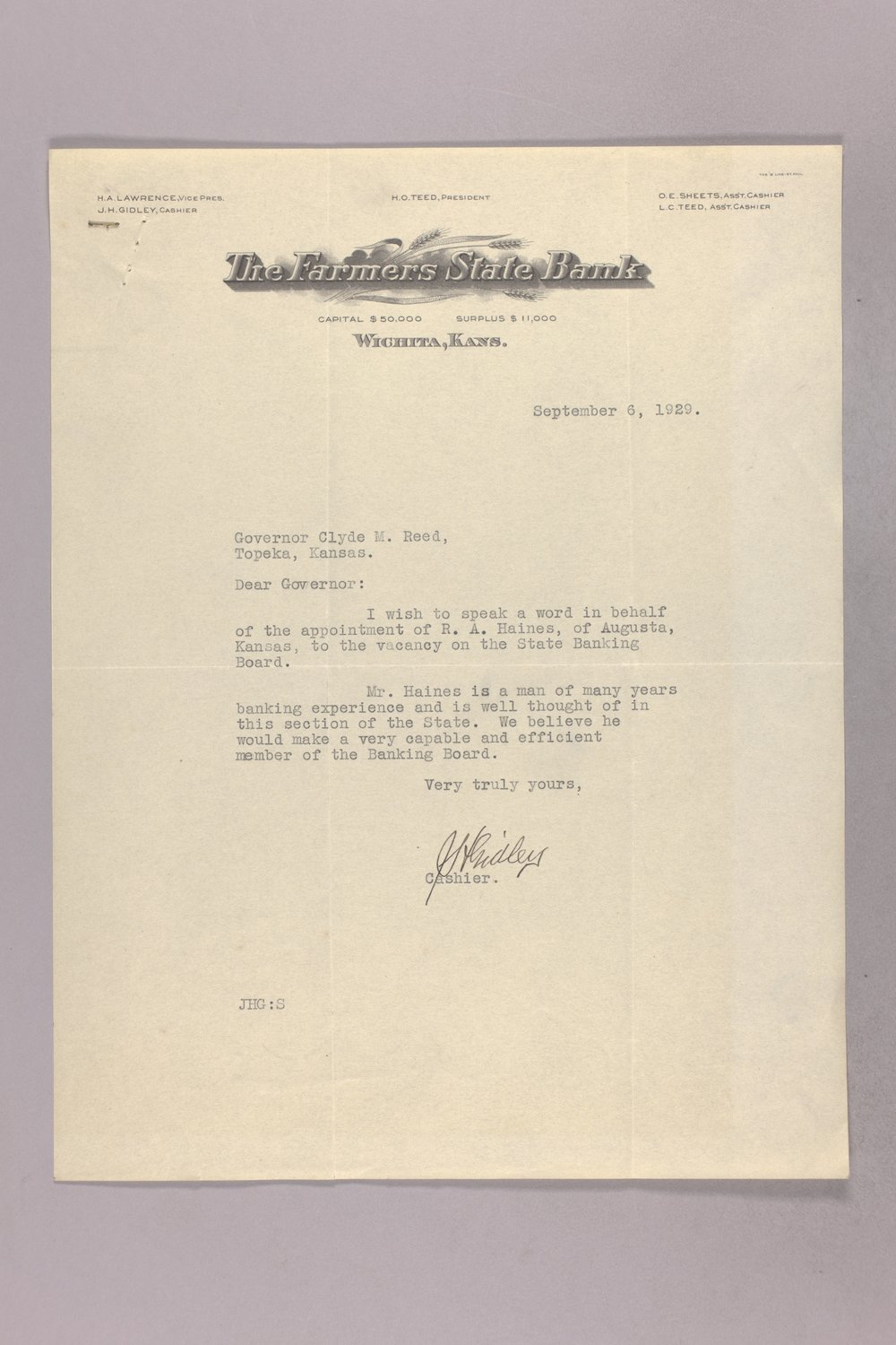 Governor Clyde M. Reed correspondence, Banking Board - 6