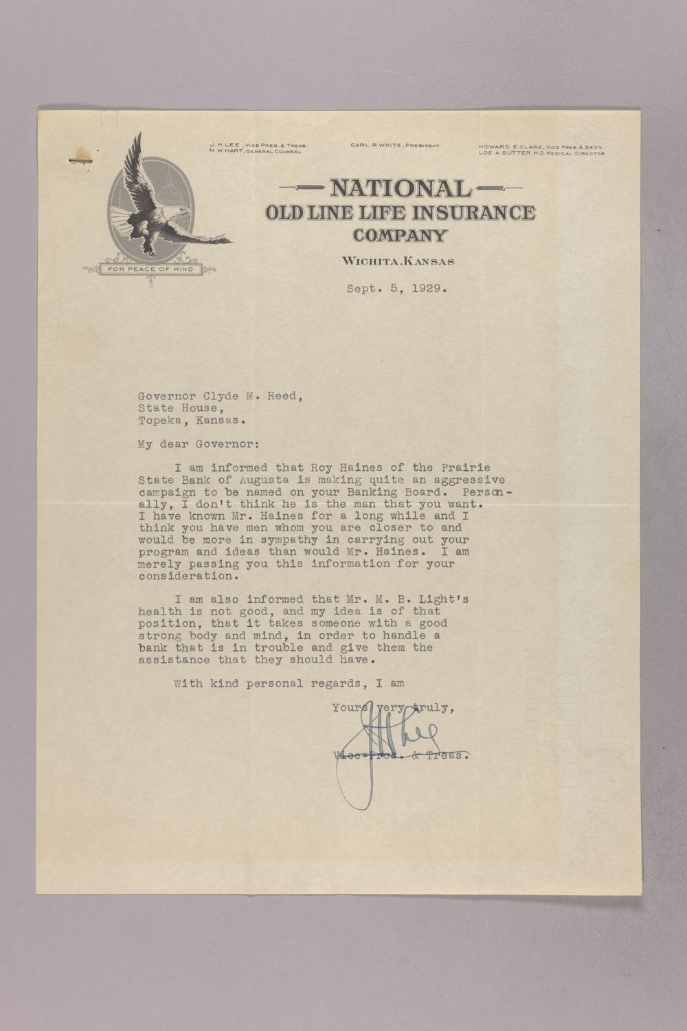 Governor Clyde M. Reed correspondence, Banking Board - 7