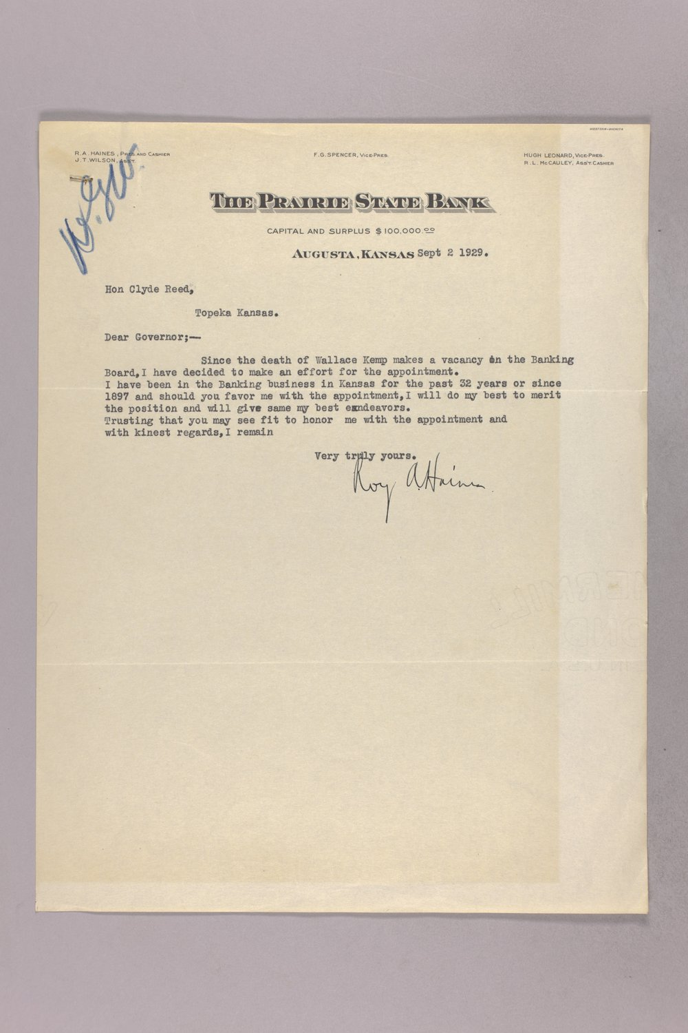 Governor Clyde M. Reed correspondence, Banking Board - 8