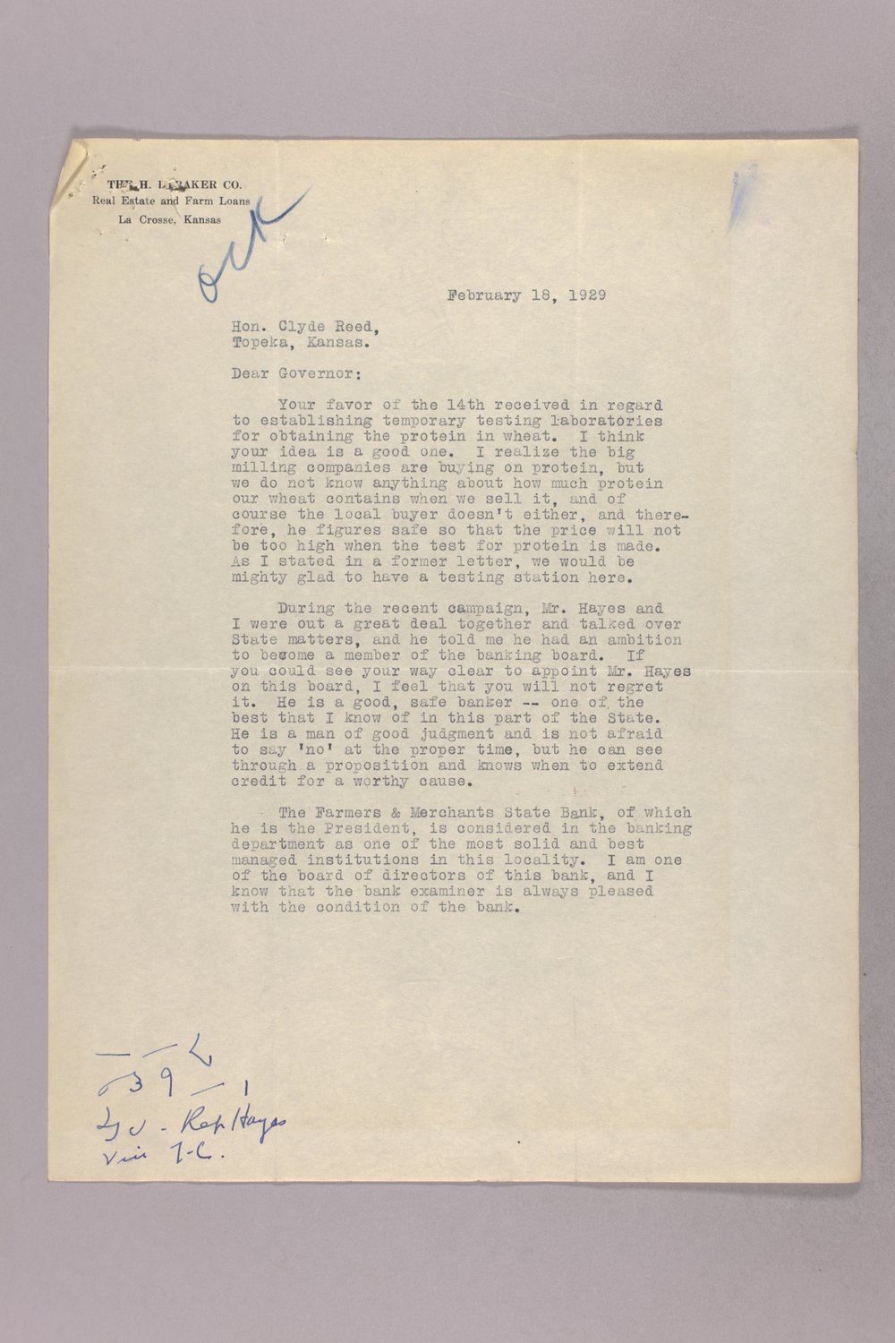 Governor Clyde M. Reed correspondence, Banking Board - 9