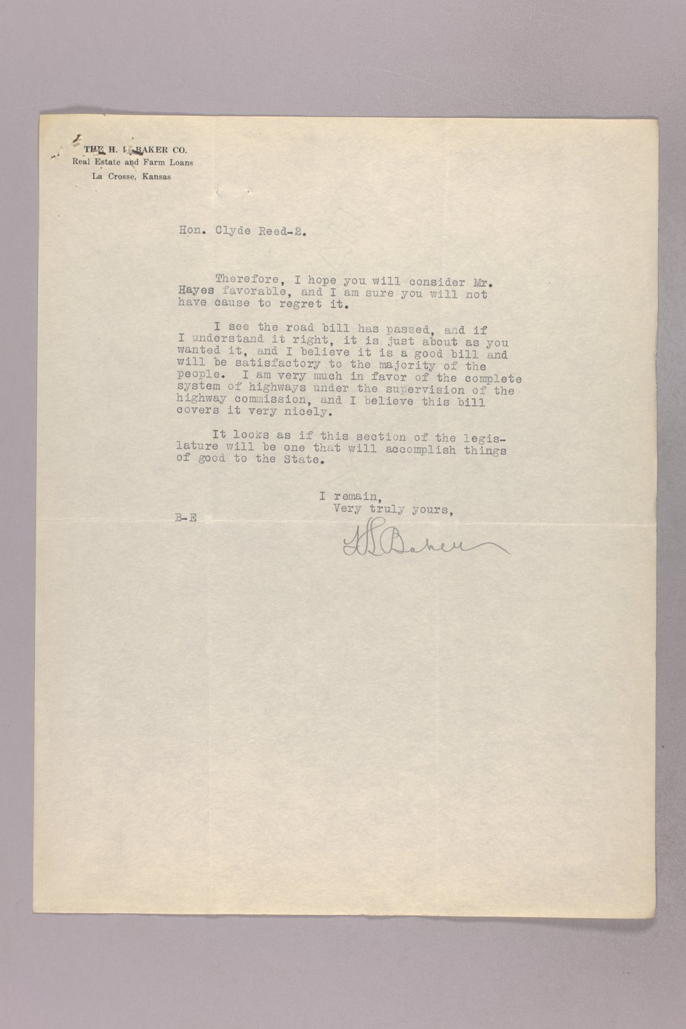 Governor Clyde M. Reed correspondence, Banking Board - 10
