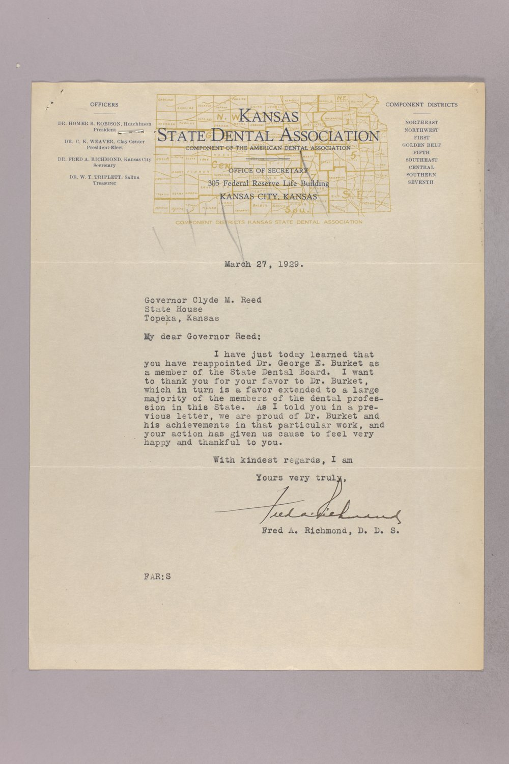Governor Clyde M  Reed correspondence, Board of Dental Examiners