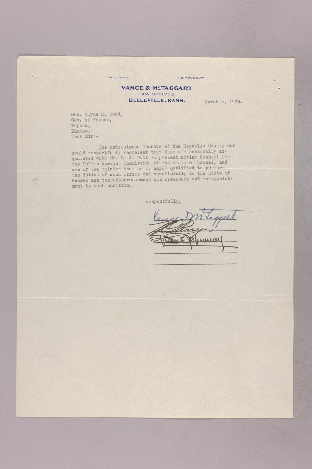 Governor Clyde M. Reed correspondence, Public Service Commission applications - 2