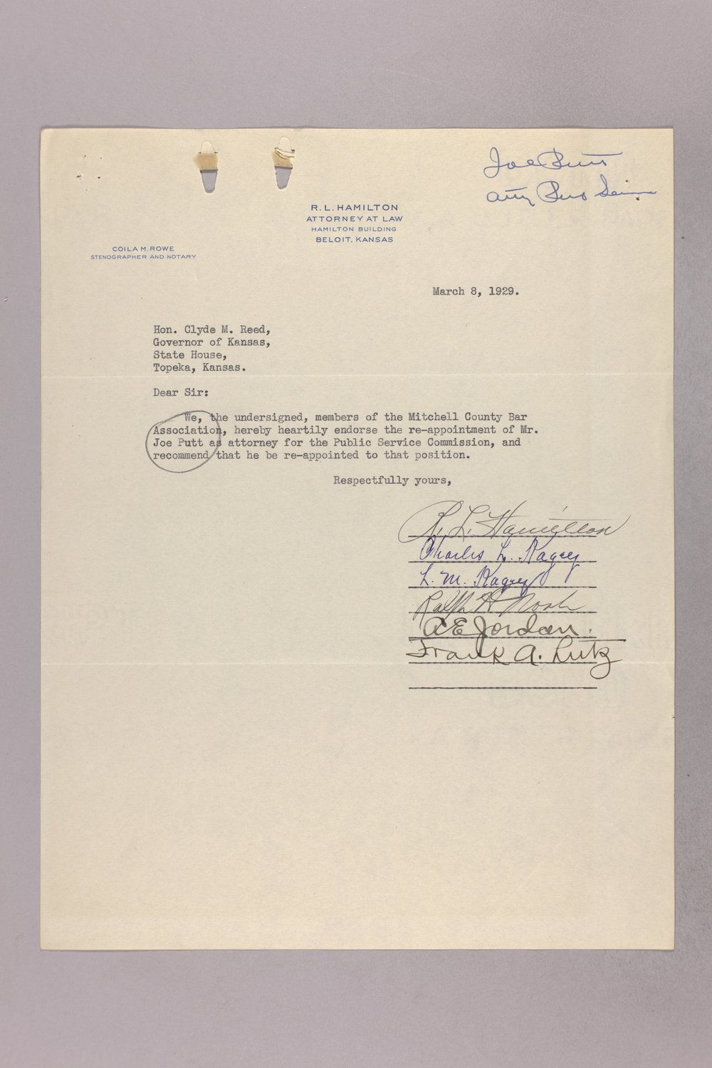 Governor Clyde M. Reed correspondence, Public Service Commission applications - 3