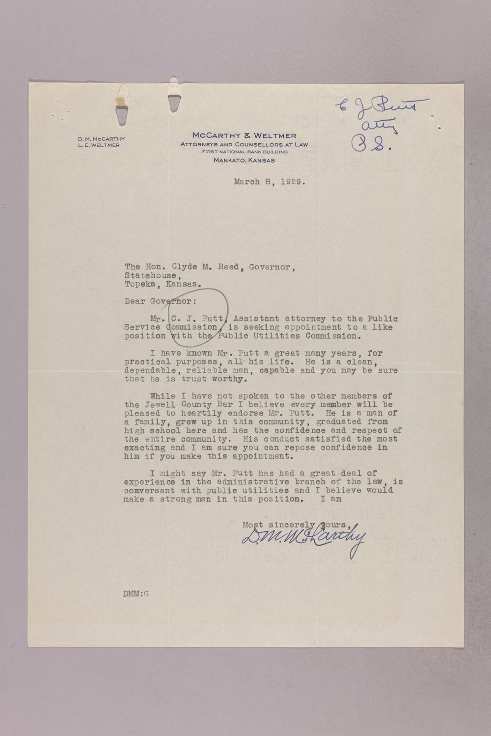 Governor Clyde M. Reed correspondence, Public Service Commission applications - 4