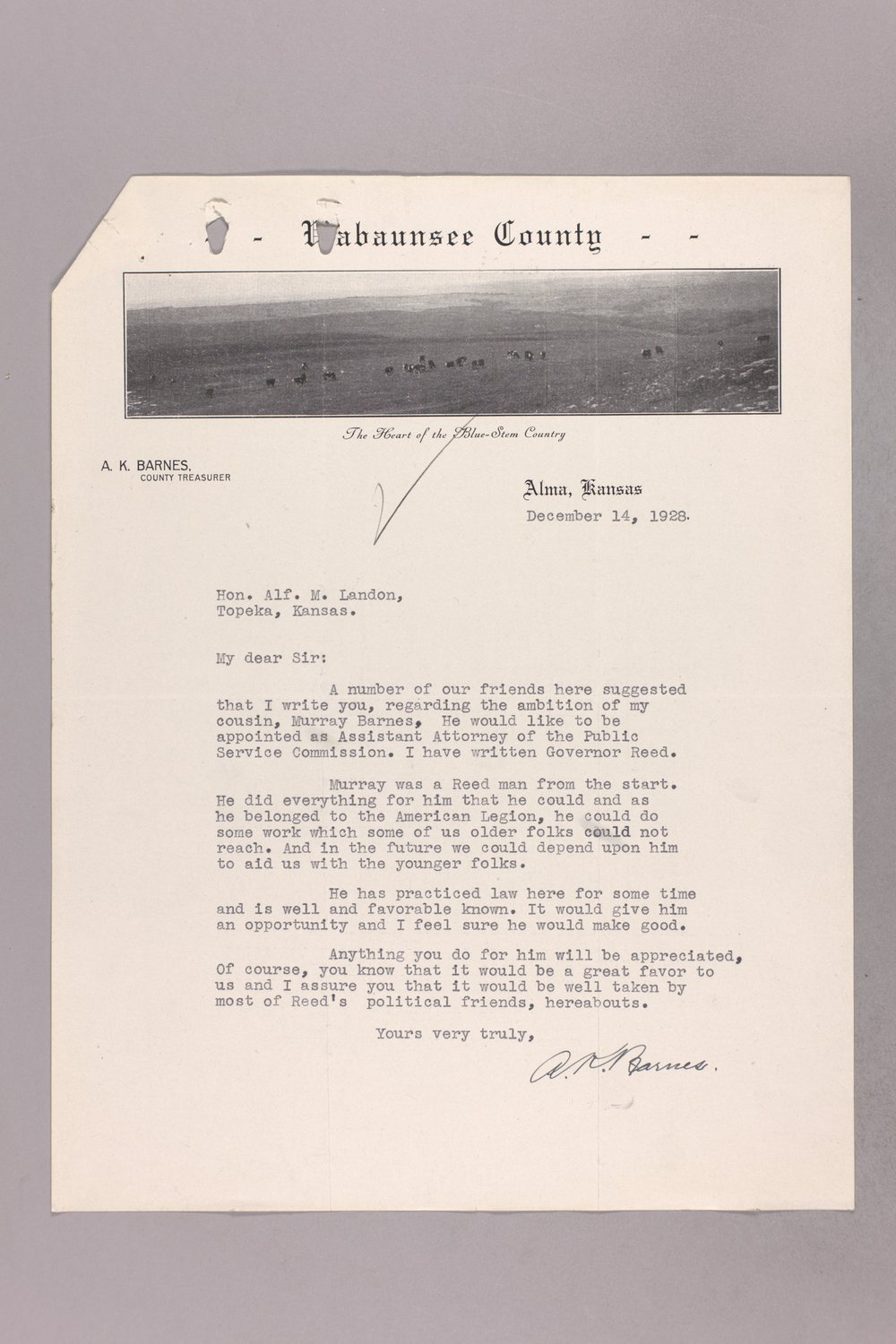 Governor Clyde M. Reed correspondence, Public Service Commission applications - 6