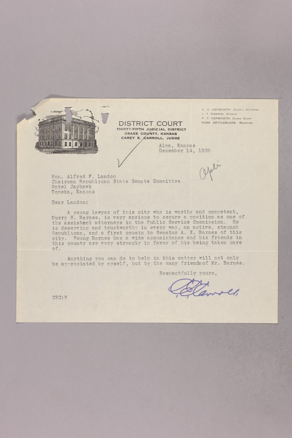 Governor Clyde M. Reed correspondence, Public Service Commission applications - 9