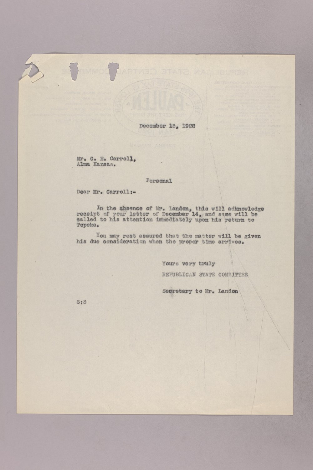 Governor Clyde M. Reed correspondence, Public Service Commission applications - 10