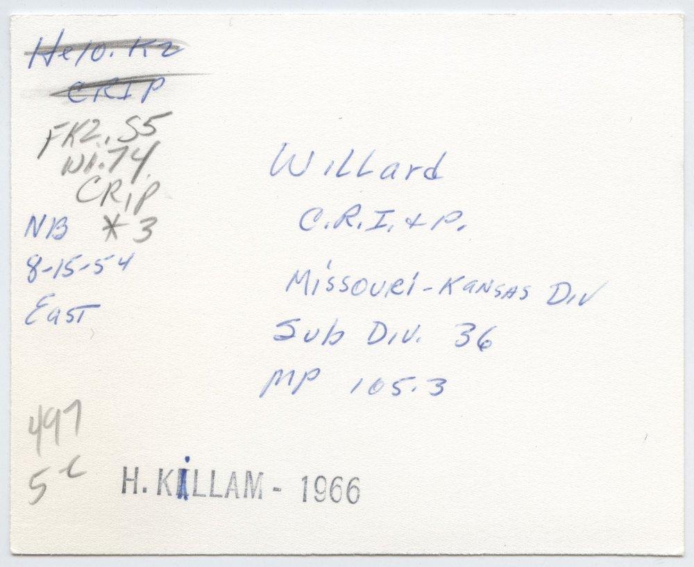 Chicago, Rock Island & Pacific Railroad sign board, Willard, Kansas - 2