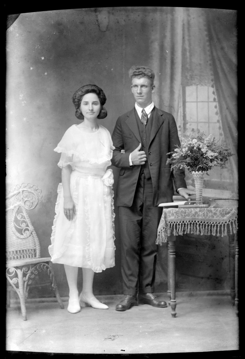 Michael A. Kennedy photo collection, St. Paul, Kansas - Wedding portrait of Emil Kennedy Sr. and Anna Elizabeth (Wagner) Kennedy, 1925