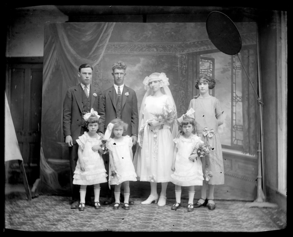 Michael A. Kennedy photo collection, St. Paul, Kansas - From left to right, back to front: Raymond Walker, Emil Kennedy Sr., Anna (Wagner) Kennedy, Violet Wagner, Kathleen Schoenhofer, Vioal Kennedy, and Eileen Schoenhofer (2771)
