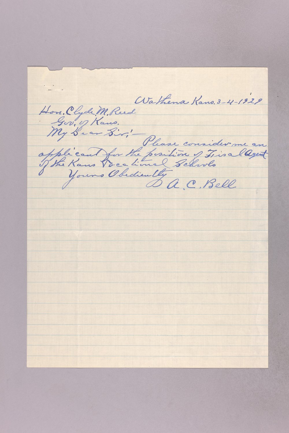 Governor Clyde M. Reed correspondence, vocational school applications - 1