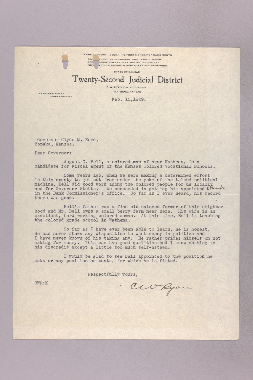 Governor Clyde M. Reed correspondence, vocational school applications - 2