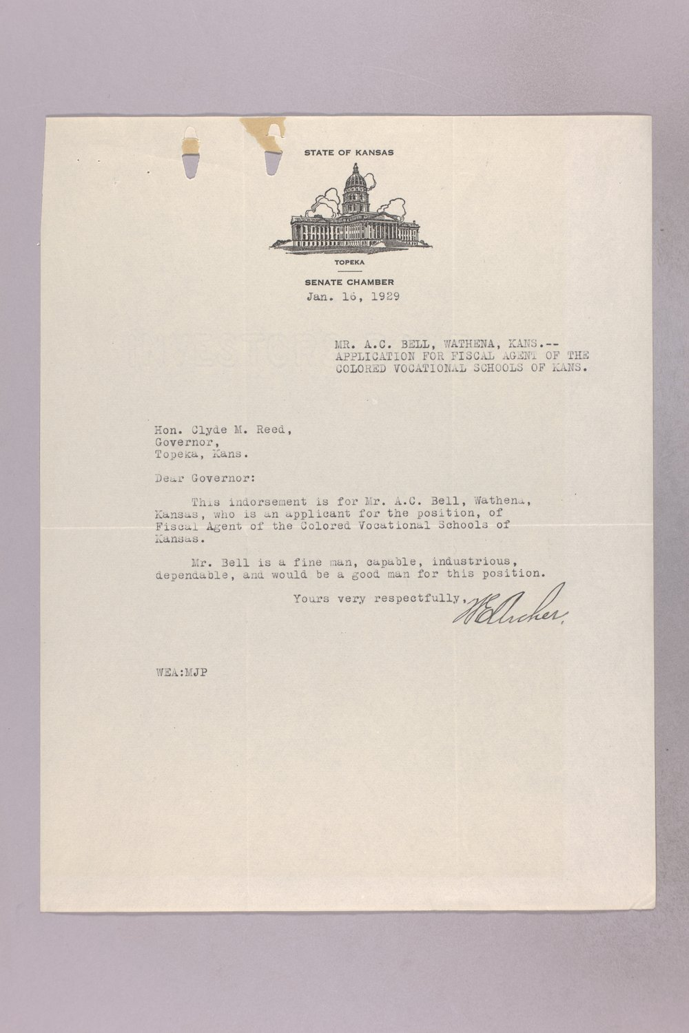 Governor Clyde M. Reed correspondence, vocational school applications - 5