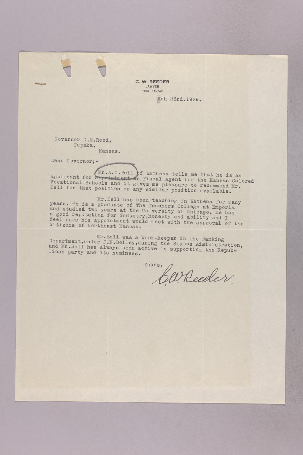 Governor Clyde M. Reed correspondence, vocational school applications - 8