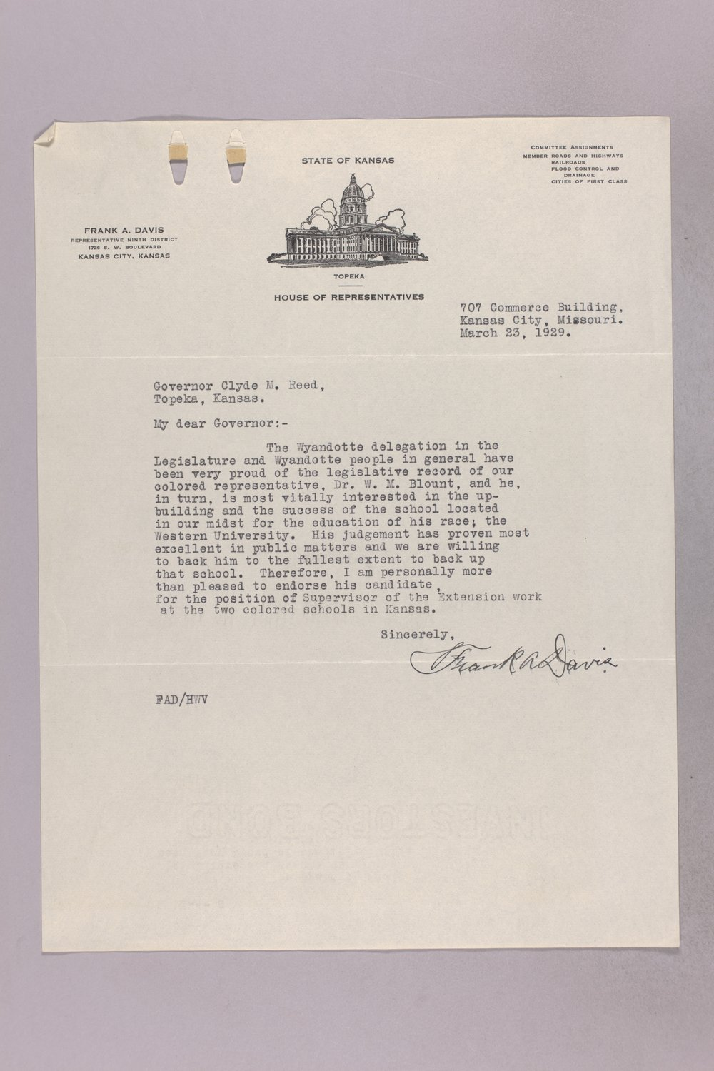 Governor Clyde M. Reed correspondence, vocational school applications - 9