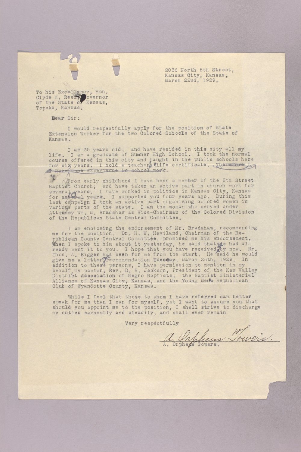 Governor Clyde M. Reed correspondence, vocational school applications - 10