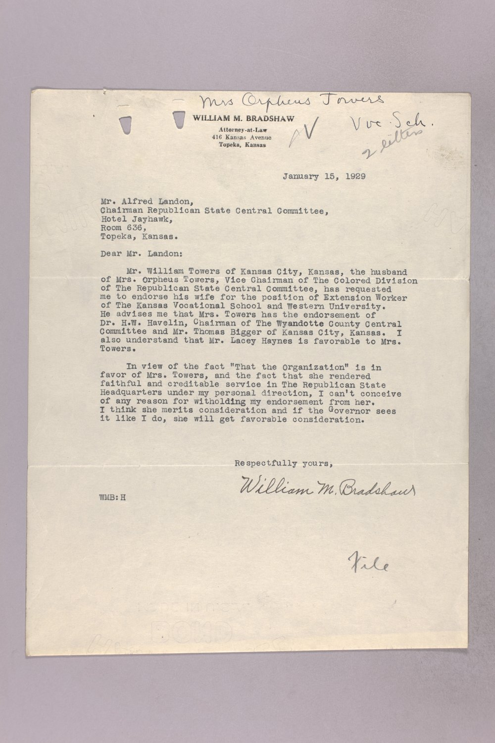 Governor Clyde M. Reed correspondence, vocational school applications - 12