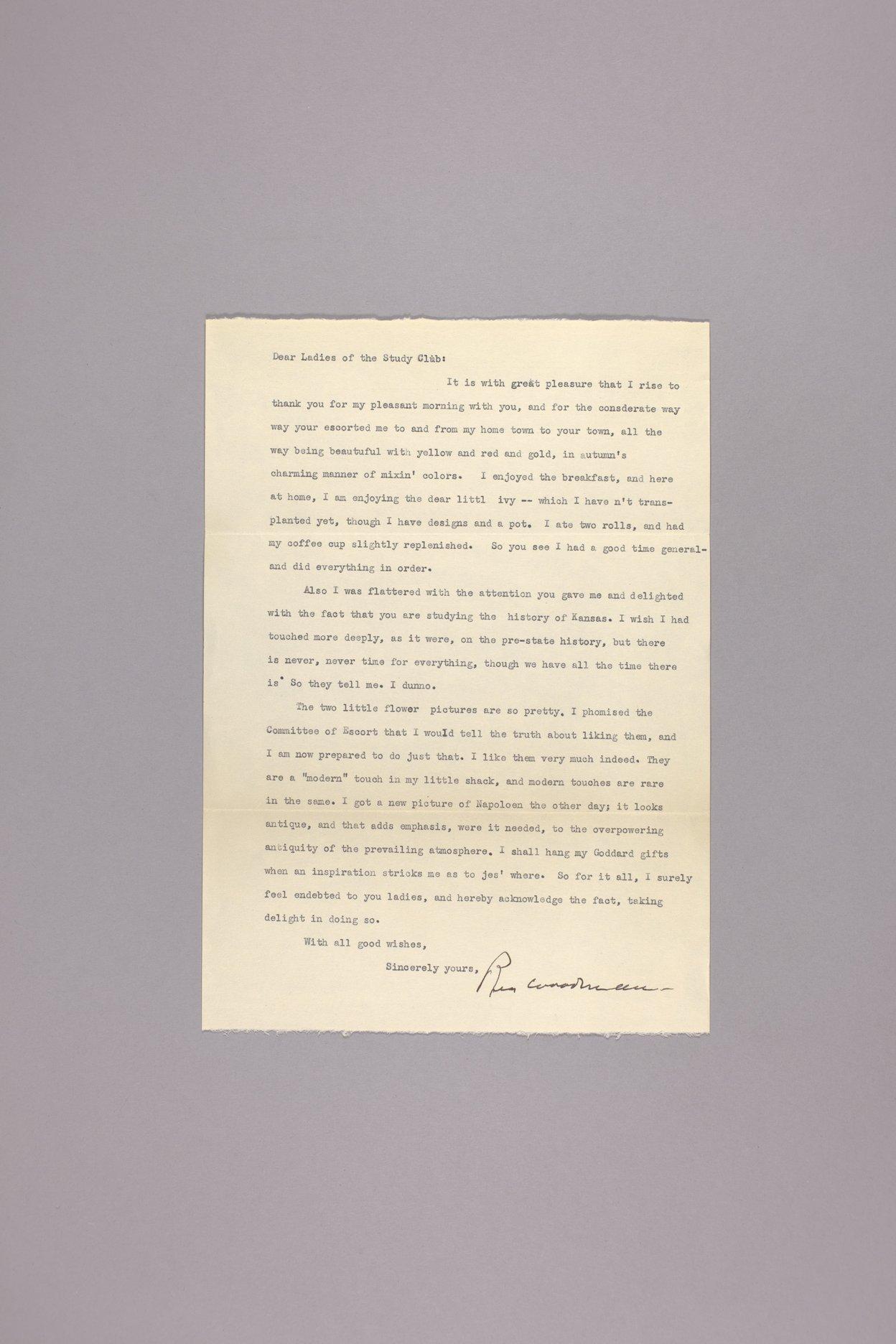 Goddard Woman's Club scapbook - Thank you letter: Rea Woodman