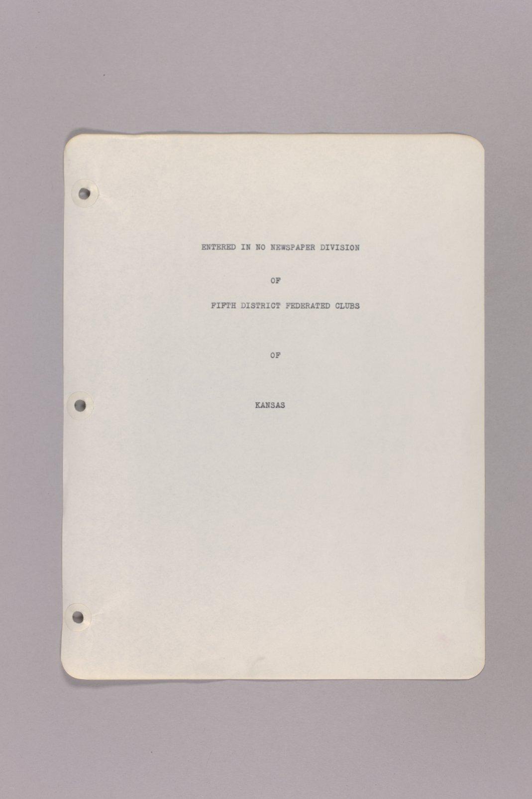 Goddard Woman's Club pressbook - Prepface: Fifth Distriict Federated Clubs Kansas