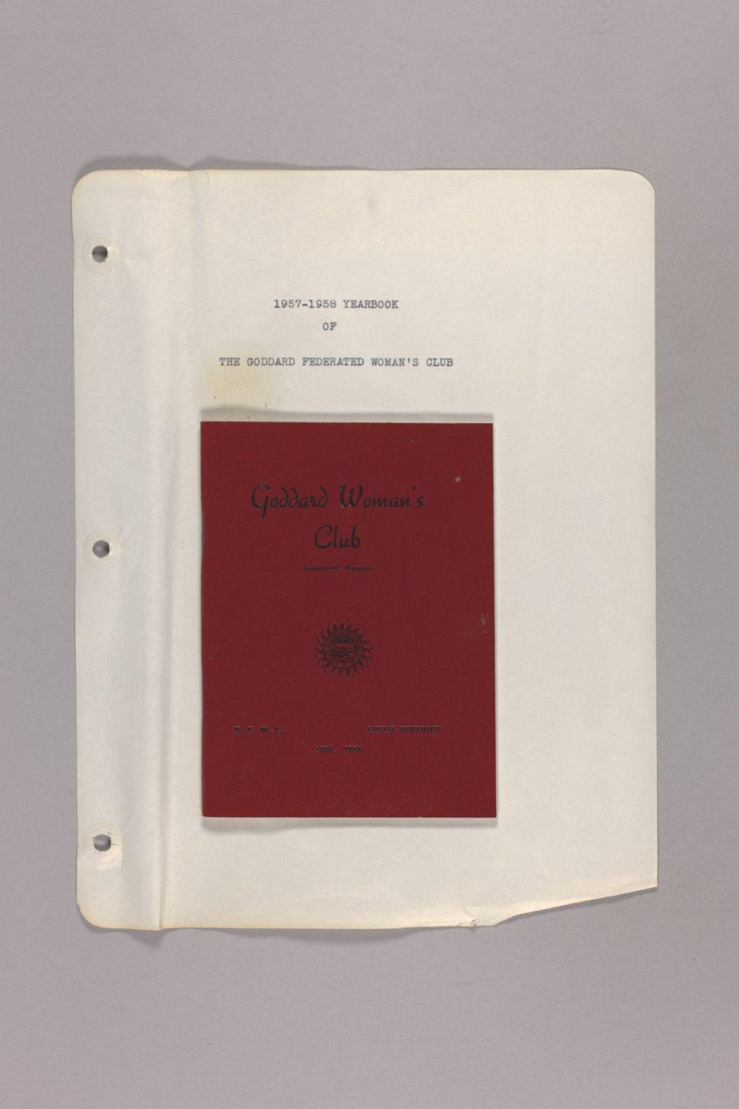 Goddard Woman's Club pressbook - Yearbook: 1957-58