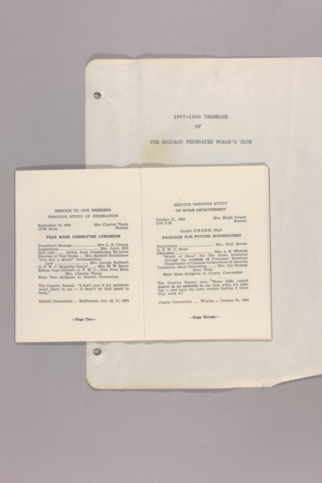 Goddard Woman's Club pressbook - Booklet: Twenty-Sixth Annual program