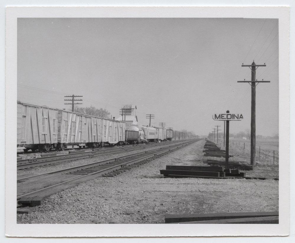 Union Pacific Railroad Company's sign board, Medina, Kansas