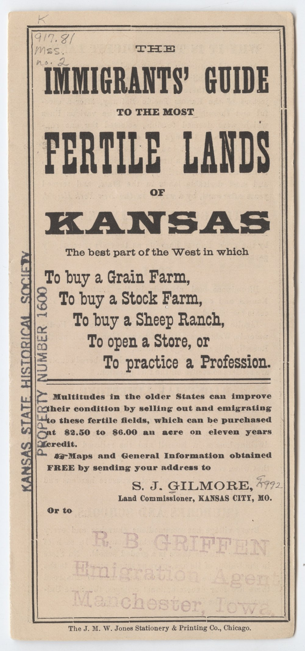Immigrants' guide to the most fertile lands of Kansas - 1