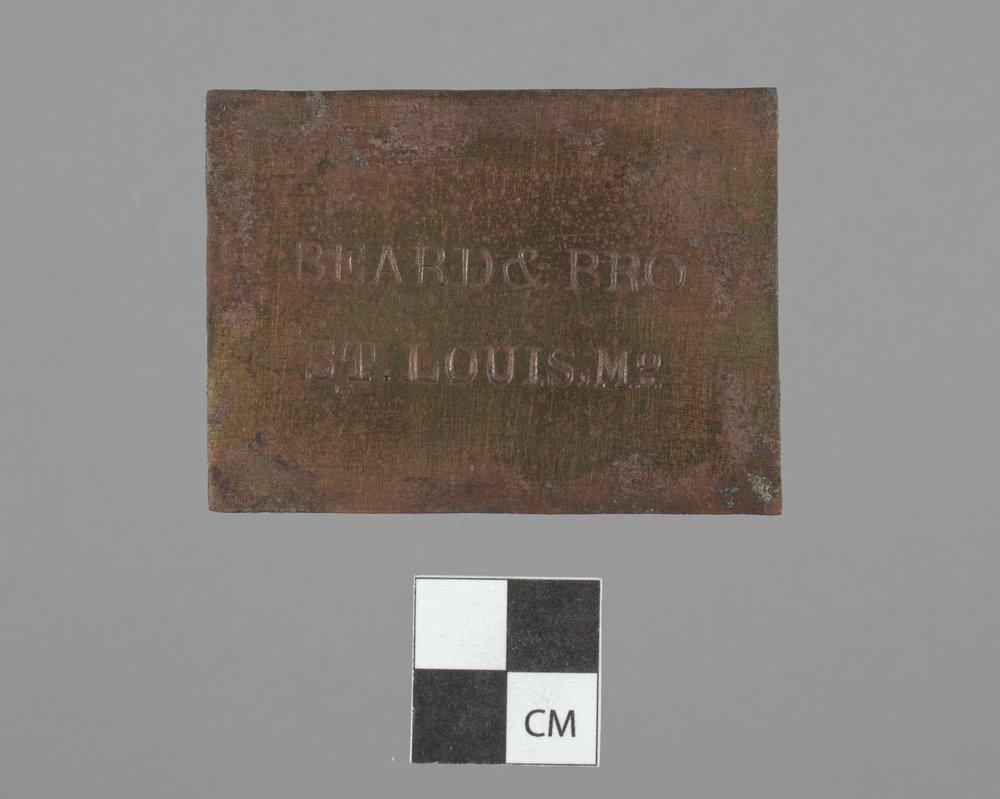 Brass Plate from Fort Zarah, 14BT301 - 2