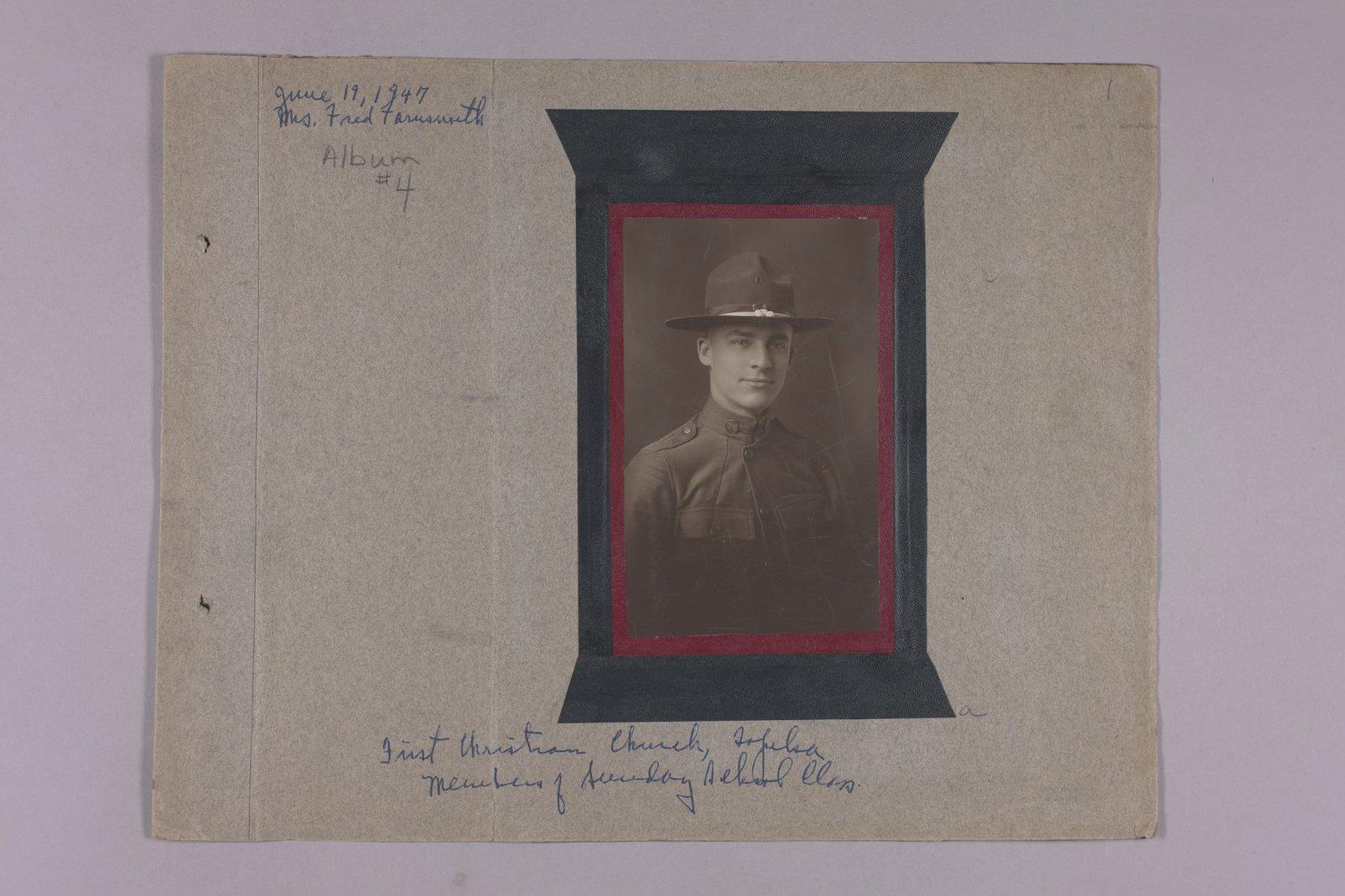 Martha Farnsworth scrapbook #4 - Photograph: WW I. solider